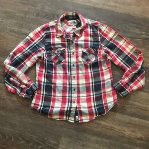 Women's North Face Plaid Shirt Sz M